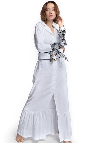 Akosée white Jodi Long Shirt Dress E0D5BAADF51EE4GS_1