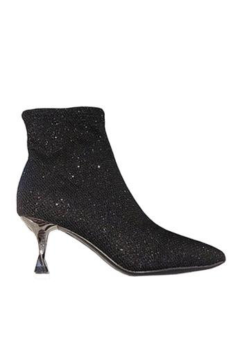 Twenty Eight Shoes 黑色 銀絲布中靴 VB59161 376C4SH584216DGS_1