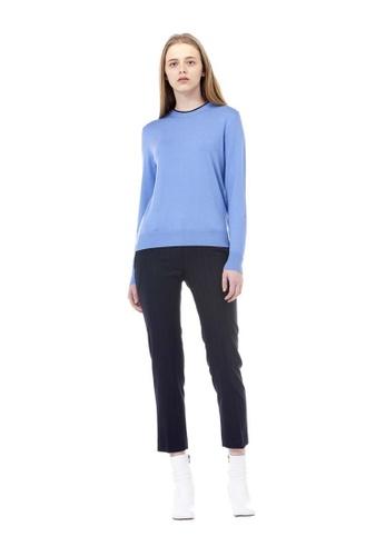 VOV(Voice of Voices) blue Blue Round Neck Ribbed Knit D69D7AA6DA91CEGS_1
