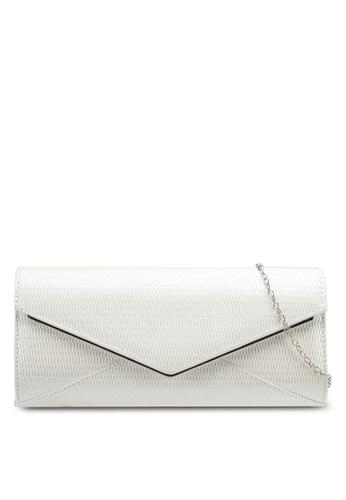 Unisa white V-Metal Glossy Textured Clutch UN821AC0SRUQMY_1