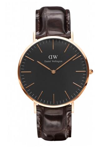 Daniel Wellington gold and brown Classic Black York Watch 40mm DA376AC87NBGMY_1