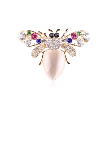 Glamorousky white Fashion and Elegant Plated Rose Gold Bee Opal Brooch with Cubic Zirconia 5B027ACEB51982GS_1