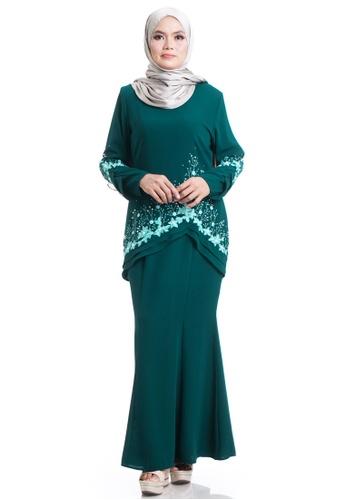 Ashura green Naurah Kurung With Layered Frills 3092CAAFEEB5CAGS_1