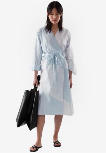 COS white Striped Wrap Dress 4CE24AAE1A0A8FGS_1