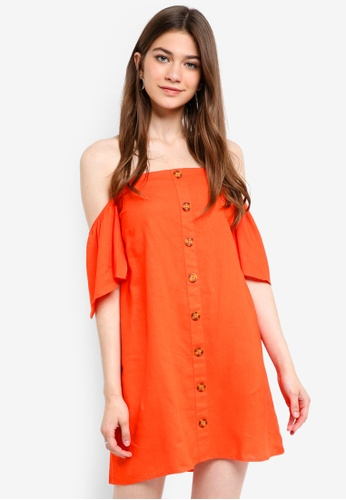 Cotton On orange Woven Off The Shoulder Oliver Dress 41500AABB87850GS_1