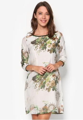 七分袖印花連身裙, 服飾, esprit taiwan洋裝