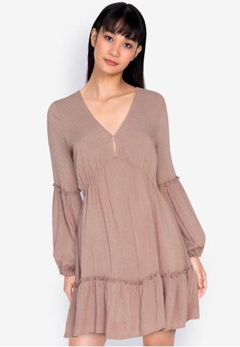 ZALORA BASICS brown Puff Sleeve Mini Dress DBE48AAACF2A73GS_1