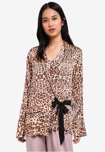 TOPSHOP 多色 Animal Print Wrap PJ Shirt 915B2AA365B21DGS_1