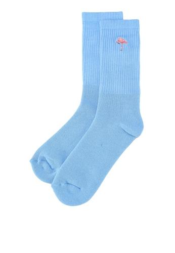 Topman blue Blue Flamingo Badge Tube Socks E36DEAAB6B95D1GS_1