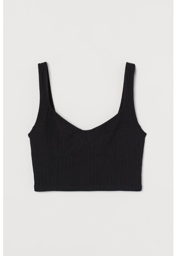 H&M black Ribbed Strappy Top 8DC14AA605C1B1GS_1