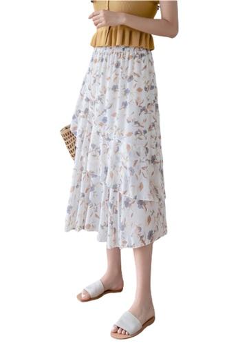 Halo beige Printed Ruffle Chiffon Skirt 27D4BAAE9CF330GS_1