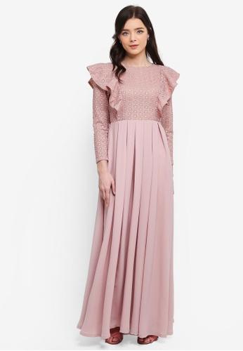 Zalia pink Fit & Flare Lace Frill Dress E92F8AA666B43BGS_1