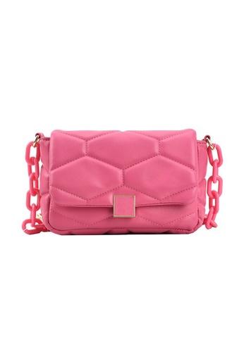 Lara pink Women's Hexagon Embossed PU Leather Cross-body Bag - Rose Pink 652AEAC2DC9886GS_1