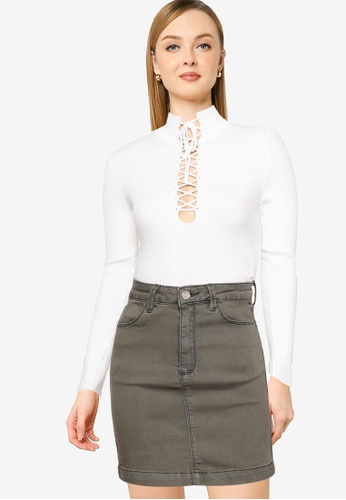MISSGUIDED white High Neck Lace Up Top 519FCAA78EF786GS_1