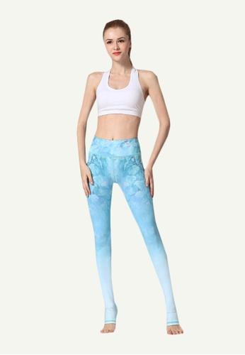 B-Code blue ZYG5020A-Lady Quick Drying Running Fitness Yoga Sports Leggings-Blue 9D5D0AA0D8F6B5GS_1