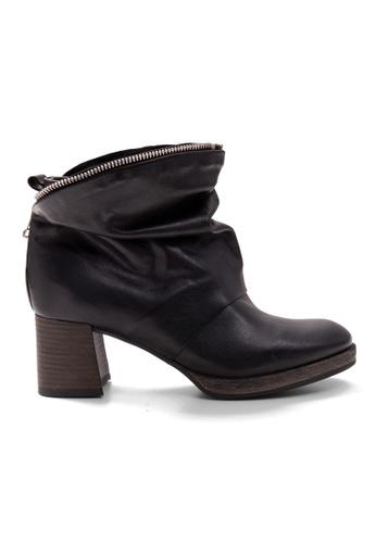 Shu Talk 黑色 拉鏈包裹型粗跟短靴 SH544SH0A6XNTW_1