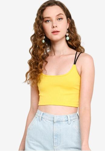 Something Borrowed yellow Strappy Rib Crop Top BA2FEAAEA8729EGS_1