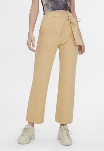Pomelo beige High Waist Side Pocket Pants - Beige 7085CAA6F5BAF8GS_1