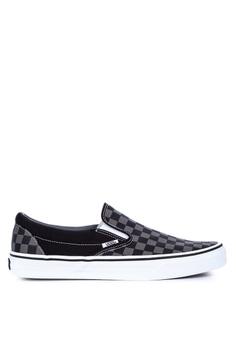 884b8ee28fc VANS black Checkerboard Classic Slip-On Sneakers 21091SH5E260E7GS 1
