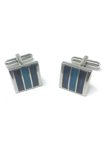 Splice Cufflinks blue and silver Dark Blue and Blue 3 Sections Square Cufflinks  SP744AC52EMXSG_1