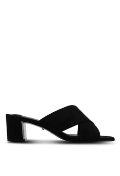 43e4fd6379f Violeta by MANGO black Criss-Cross Straps Heeled Sandals 9F860SHD7D07D8GS 1