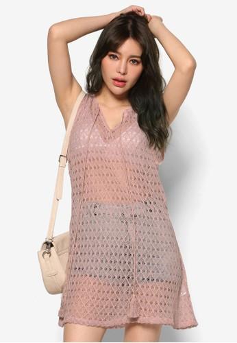 韓風流蘇繫帶透膚蕾絲esprit taiwan無袖連身裙, 服飾, 洋裝
