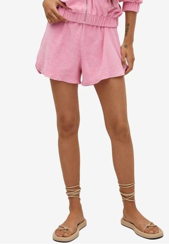 Mango pink Towel Texture Cotton Shorts C24AEAA077294FGS_1