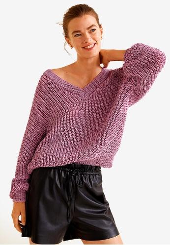 Mango pink V-Neckline Sweater DC150AAB8AA015GS_1