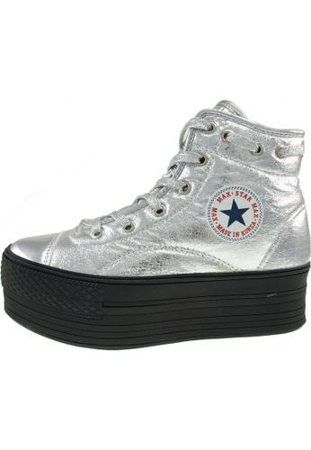 Maxstar 銀色 新款韩国鞋C50-TC-020時尚合成物質布混合女銀色 US Women Size MA345SH63HVOTW_1