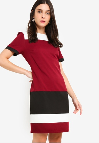 ZALORA red and multi Contrast Sheath Dress 0BA37AA65BD2BCGS_1