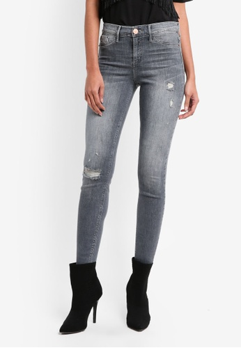 River Island grey Ripped Skinny Jeans DCF12AA28714FBGS_1