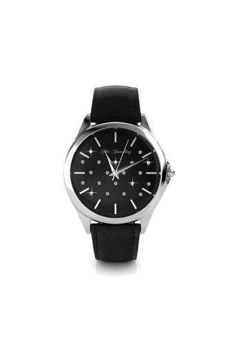 Her Jewellery black and silver Galaxy Watch (White Gold) - Made with premium grade crystals from Austria 58BF8AC8C35B37GS_1