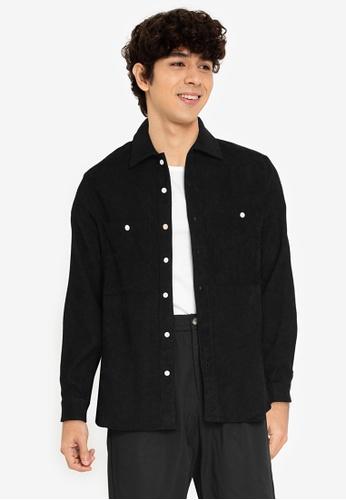ZALORA BASICS black Two Pocket Over Shirt 4CD89AAAE0B759GS_1