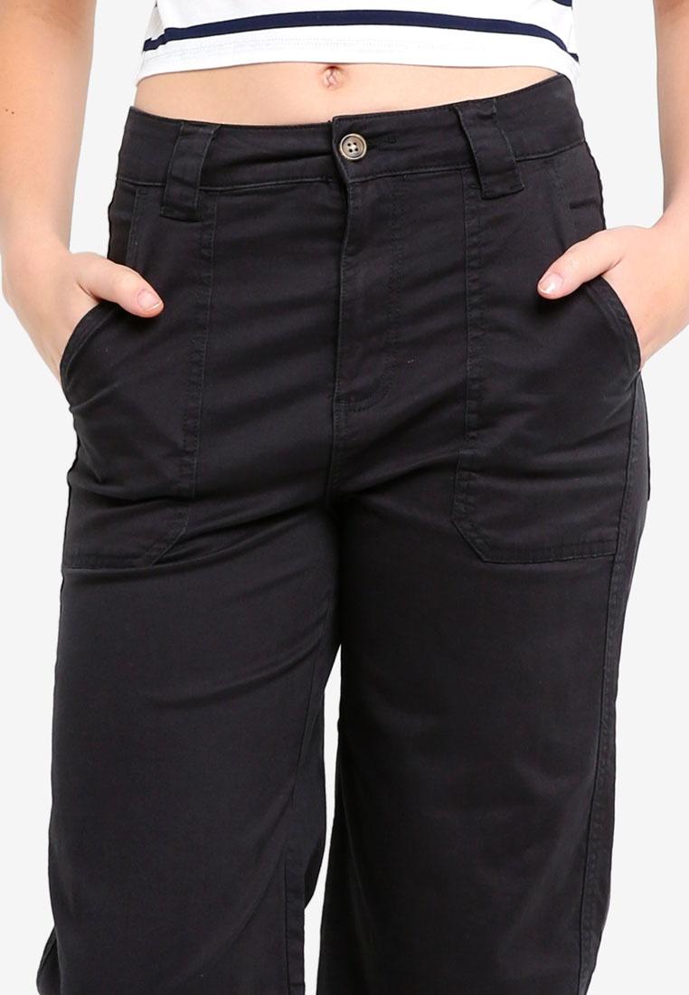 Wide Leg Cotton Black Chop Pants On AqwwCZ1