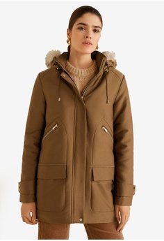 67263bda3e Mango brown Furry Hooded Parka 413AEAA0B4AFA7GS 1