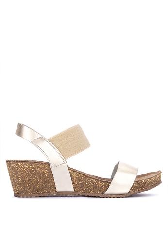 e9f920430 Dune London gold Kester Di Elastic Strap Low Wedge Sandals  310FASHB01A68FGS_1
