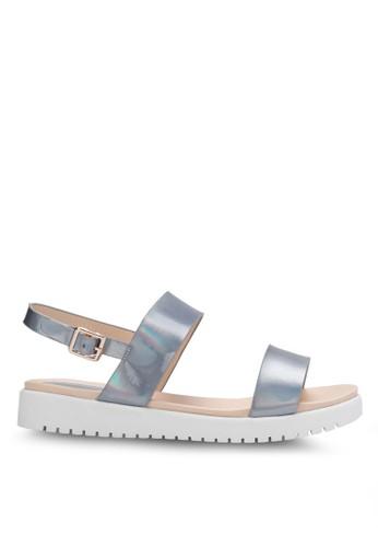 金屬感雙帶厚底繞踝zalora taiwan 時尚購物網鞋子涼鞋, 女鞋, 涼鞋