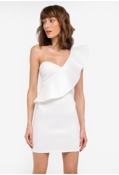 51262587dab9 MISSGUIDED white Scuba One Shoulder Ruffle Bodycon Dress MI511AA0SP6QMY_1