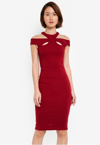 INDIKAH red Halter Neck Bodycon Dress DB733AA2D4B461GS_1