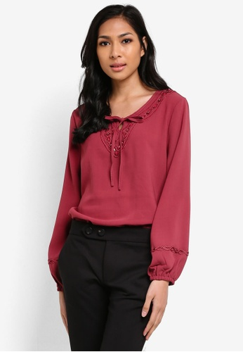 TOPGIRL red Pearl Beads Neckline Blouse TO597AA56TPNMY_1