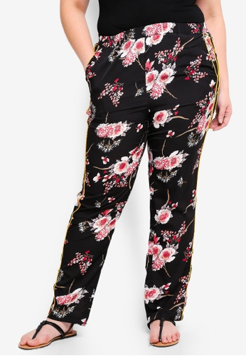 Only CARMAKOMA black and multi Plus Size Printed Trousers A4B79AA9BC38CCGS_1