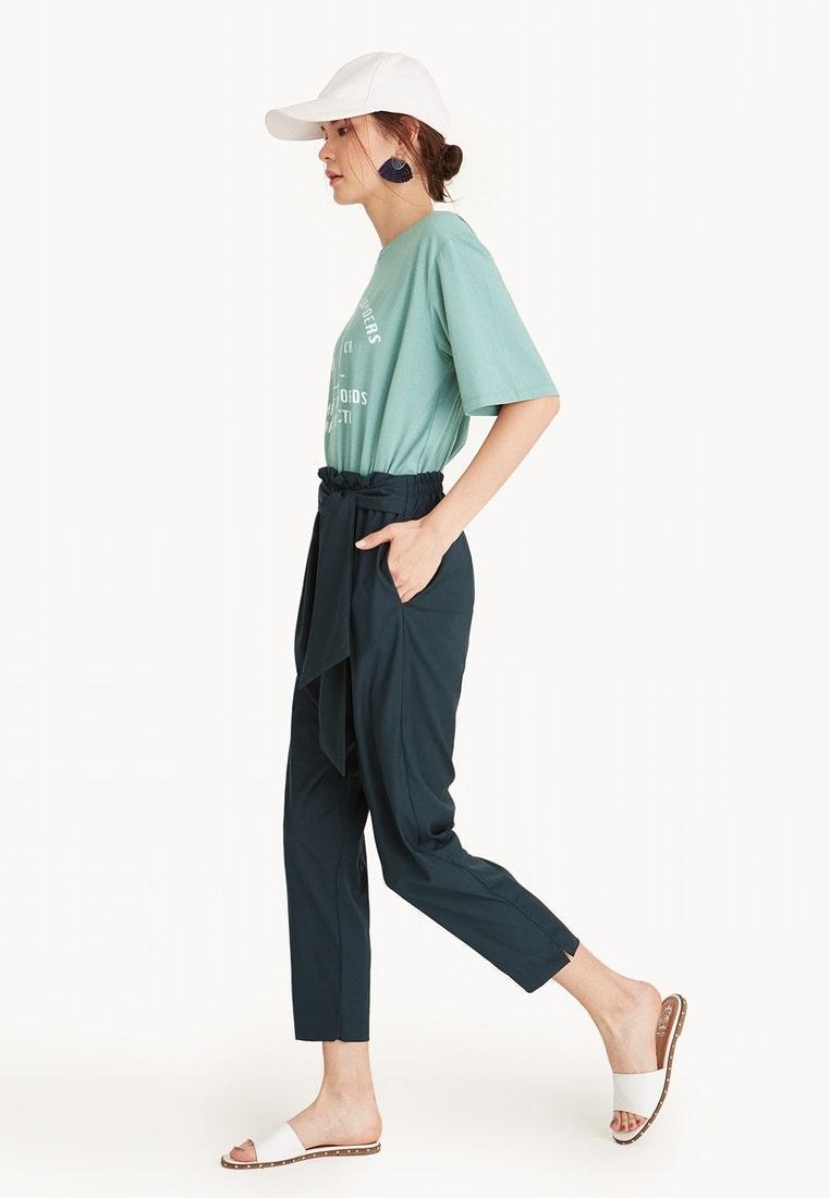 Front Green Dark Pomelo Cropped Pants Dark Green Waist Tie Frill Oq44t0w6xg