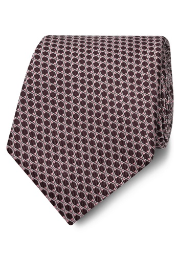 T.M. LEWIN red T.M.Lewin Burgundy Diamond Lattice Silk Wide Tie D9F28ACD0305F3GS_1