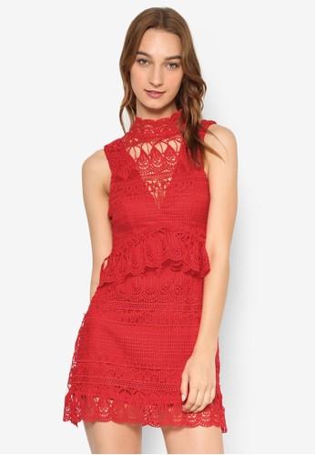 高領蕾絲荷葉飾連身裙, 服飾, 洋esprit旗艦店裝