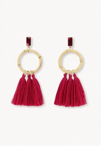 Pomelo red Wooden Hoop Tassel Earrings - Red D6AE4AC87E1EAFGS_1