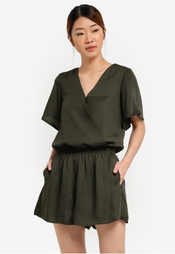 Something Borrowed green Casual Wrap Romper 43A71AACC452BFGS_1