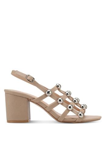 Public Desire beige Weekend Chrome Studded Heeled Sandals PU378SH0SIQNMY_1