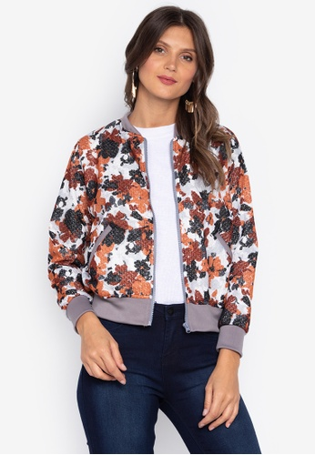Courier brown Printed Lace Ladies Bomber Jacket A401CAA92BD551GS_1