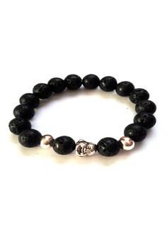Feng Shui Lava Stone Silver Plated Laughing Buddha Bracelet