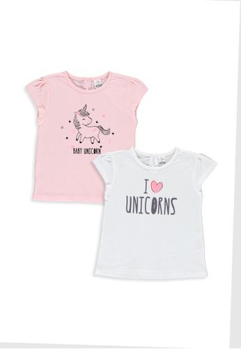 LC Waikiki pink 2-Pack Baby Girl's Printed T-Shirts E09D4KA1167776GS_1